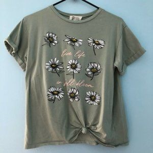French Pastry Mint Green Graphic Front Knot Top
